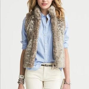 Banana Republic Leopard Faux Fur Vest